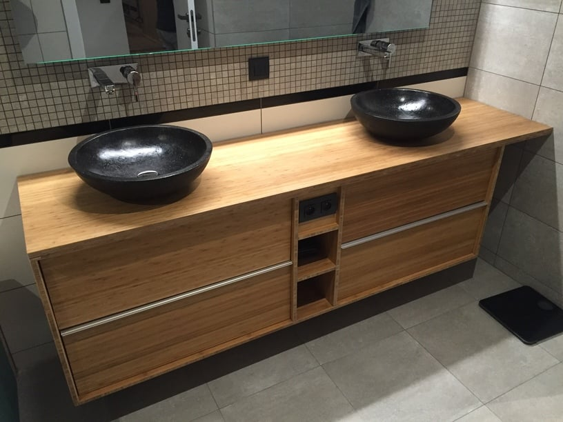 Custom bamboo bathroom furniture with godmorgon ikea for Salle de bain zen bambou