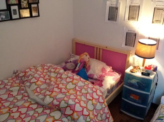 fjellse bed with pink headboard