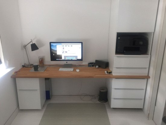 Home office from IKEA kitchen cabinets