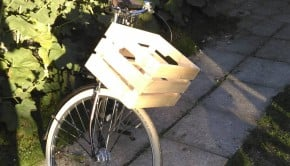 wooden bicycle basket