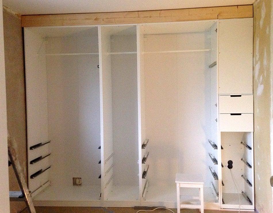 Built In Pax Wardrobe And Nightstand Ikea Hackers Ikea