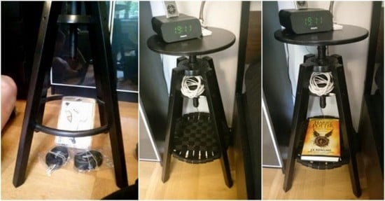 IKEA Dalfred barstool to nightstand hack