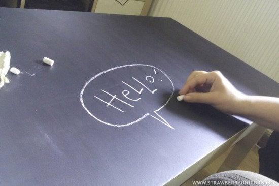 Hack a chalkboard coffee table