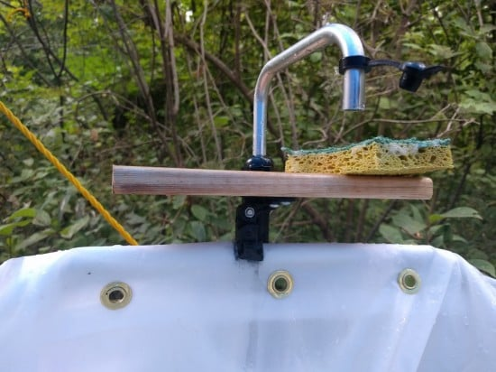 DIY camp sink spout sourced from a marine supply store