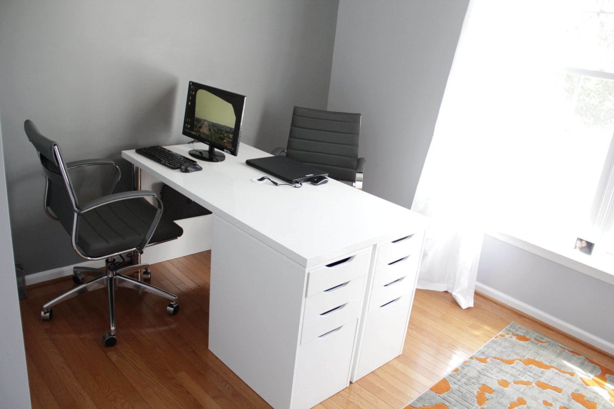 Ikea minimalist two person desk ikea hackers ikea hackers Desk for two persons