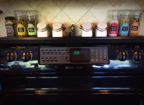 DIY stovetop spice rack