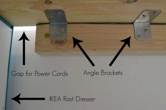 How to connect the desk top to the IKEA Rast dresser - The Handyman's Daughter