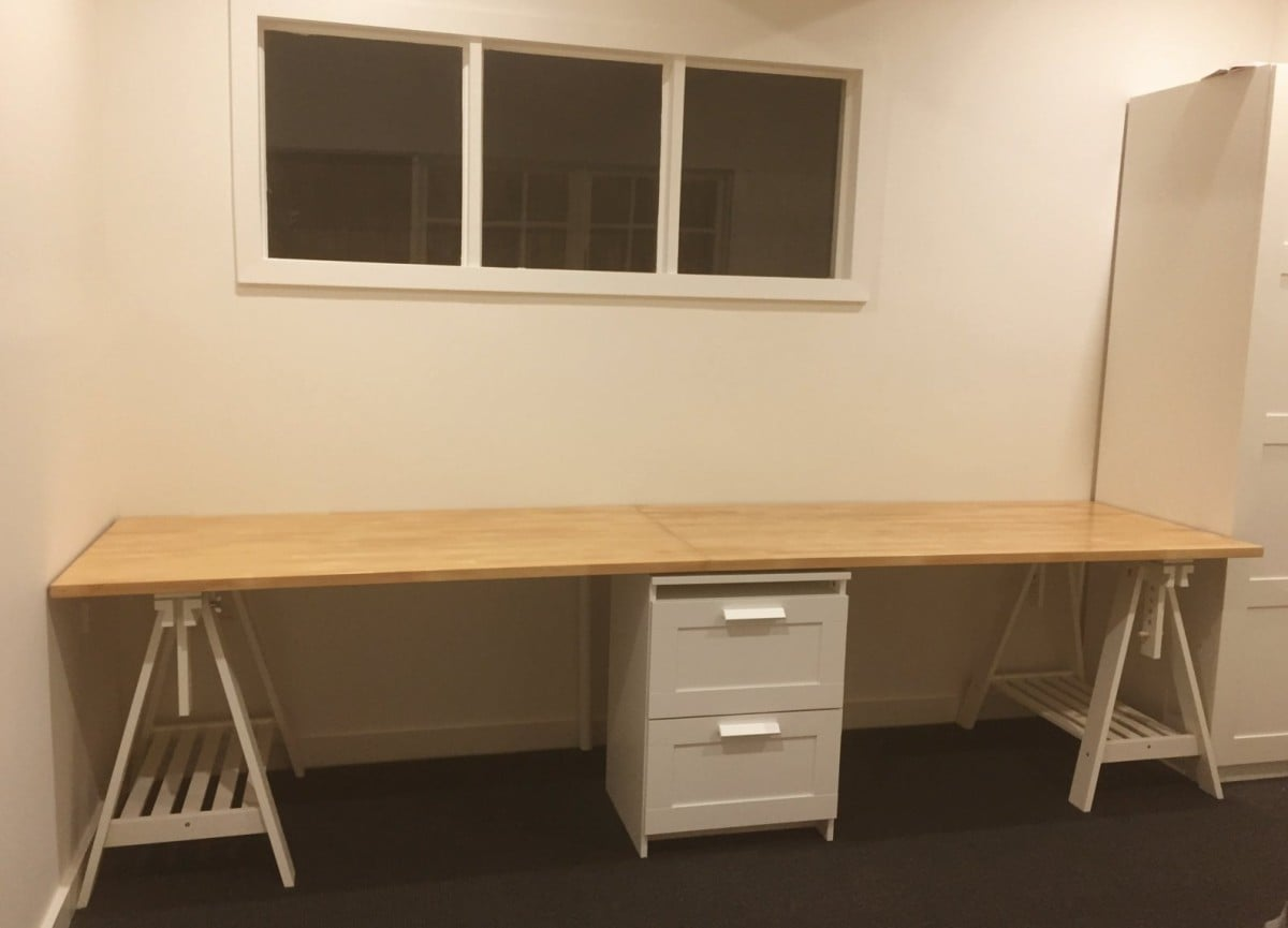 Long Wooden Home Office Study Bench Desk Ikea Hackers