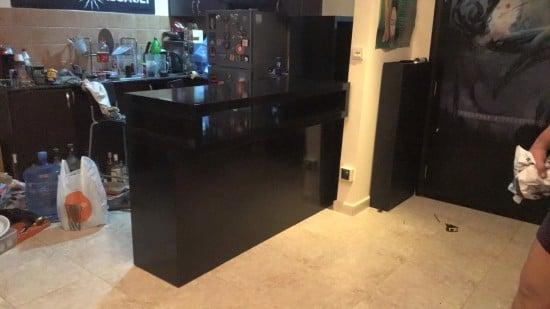 A DIY bar using the IKEA KALLAX shelving unit and LACK TV bench