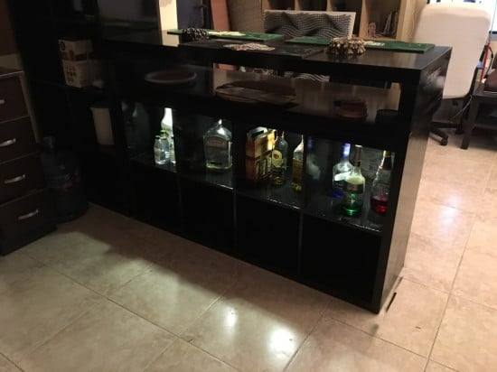 A DIY bar using the IKEA KALLAX shelving unit and LACK TV bench