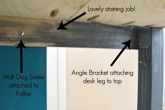 underside of IKEA desk hack - The Handyman's Daughter