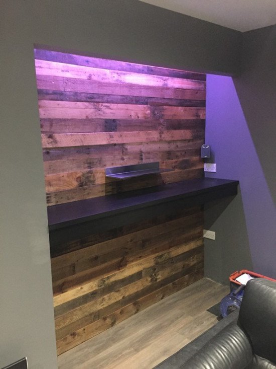 Pallet wall for man cave bar