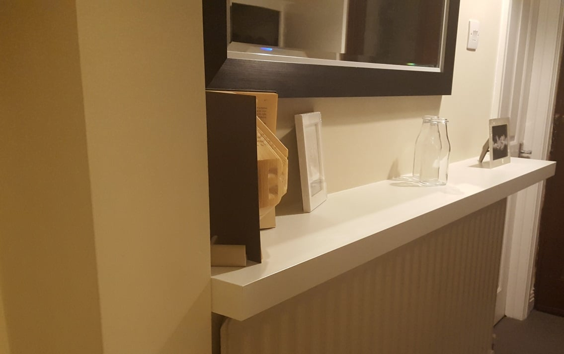 Custom size LACK shelf for hallway