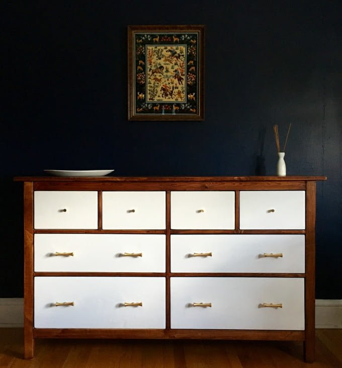ikea hemnes dresser turned mid century modern ikea. Black Bedroom Furniture Sets. Home Design Ideas