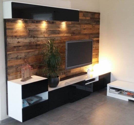 BESTÅ media center with wood panels