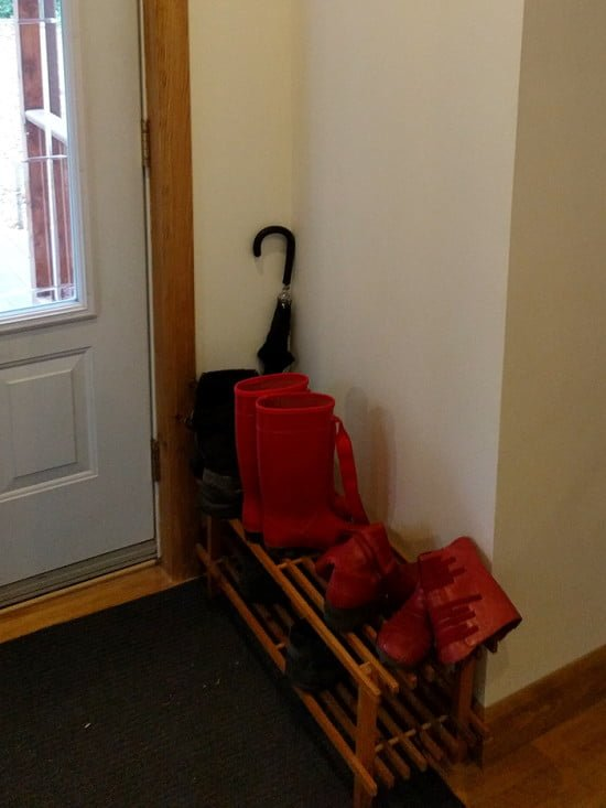 Before hack view - IKEA BABORD shoe rack
