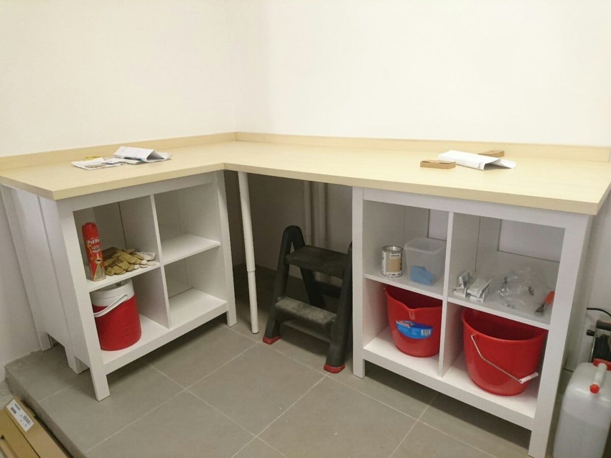 Garage Workbench Made Ridiculously Simple Ikea Hackers