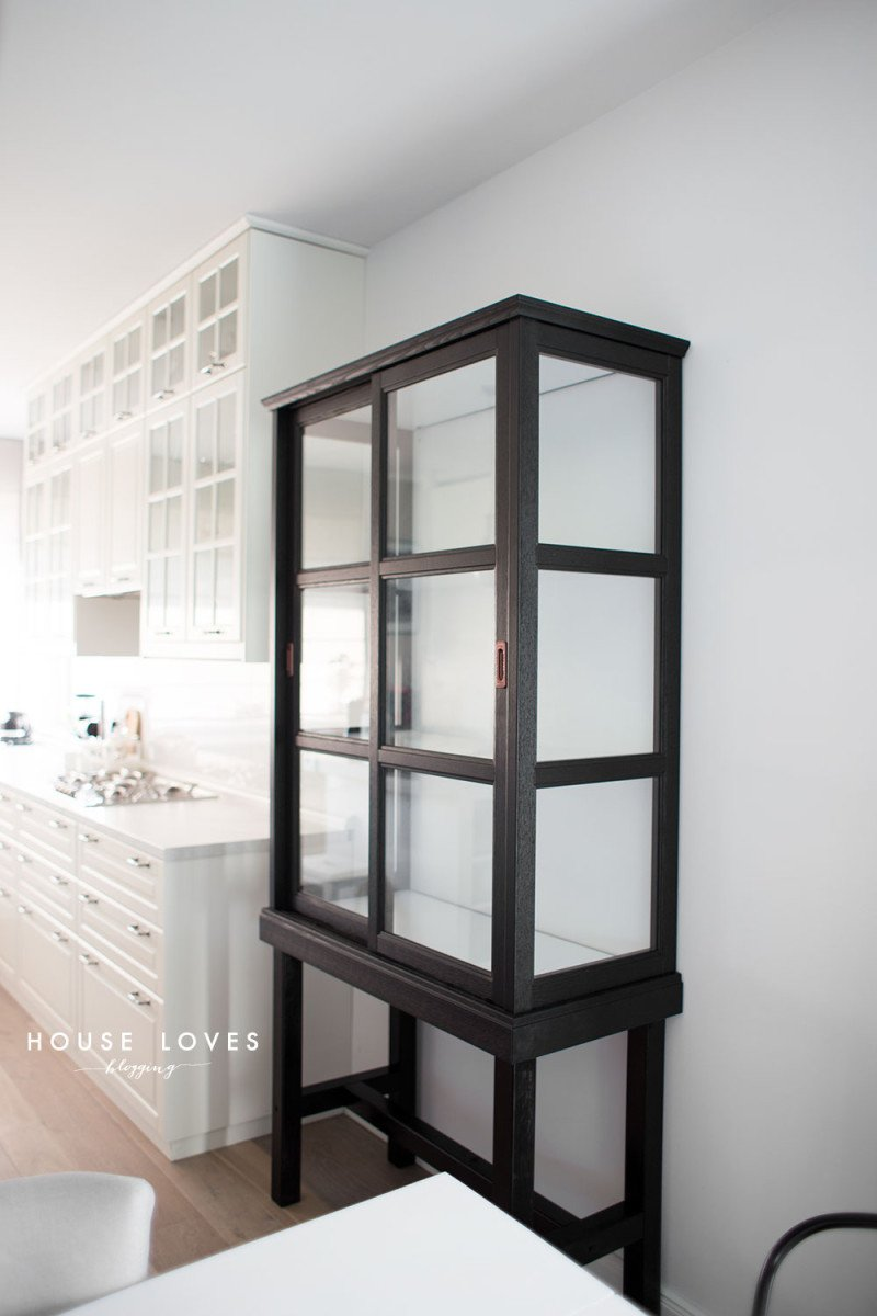 Tall glass cabinet for dining and kitchen
