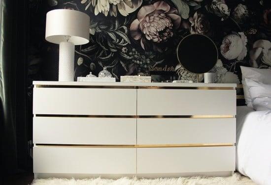 Malm Vintage Style Gold Dresser - IKEA Hack