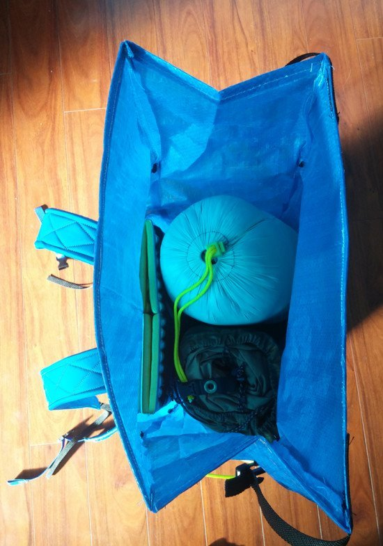 Inside of backpack