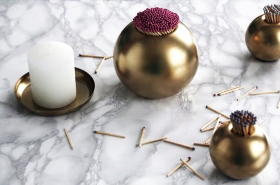 IKEA candle holder hacked into gold match striker