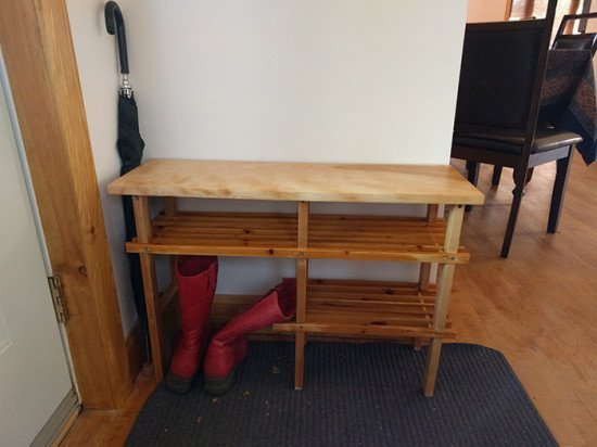 Final result view - IKEA BABORD shoe rack hacked into custom bench