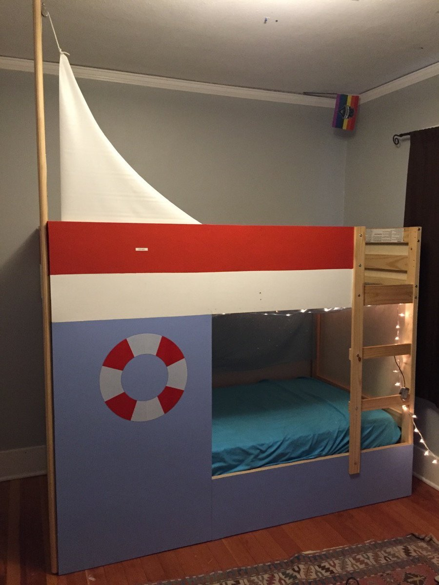 Fabulous IKEA MYDAL turned sailboat bed