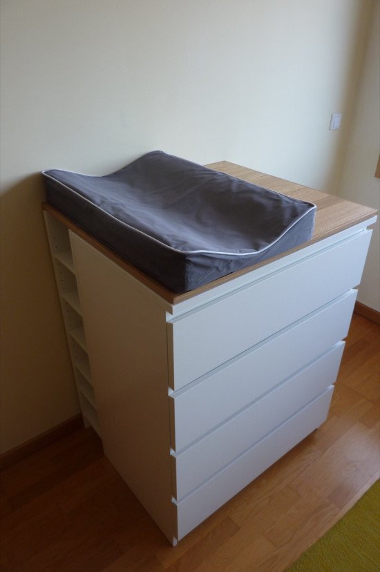 Baby Changing Table: MALM + GNEDBY + HYTTAN