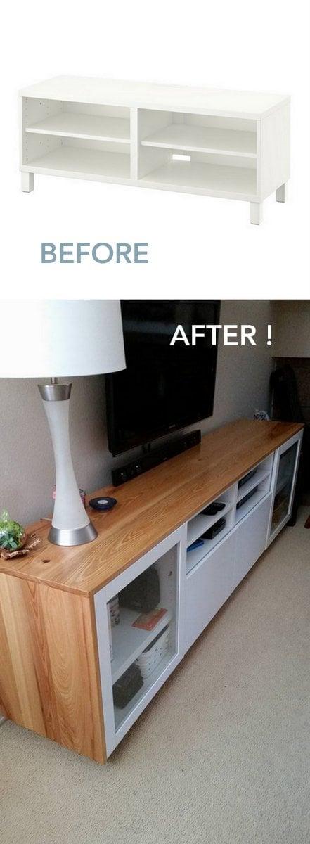 IKEA BESTA TV cabinet wrapped in cypress