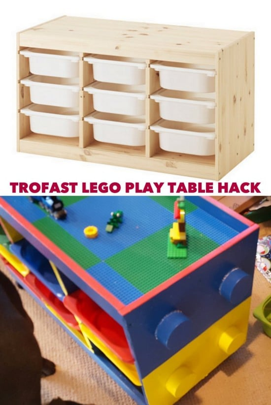 IKEA hack: TROFAST LEGO play table with decorative LEGO stubs