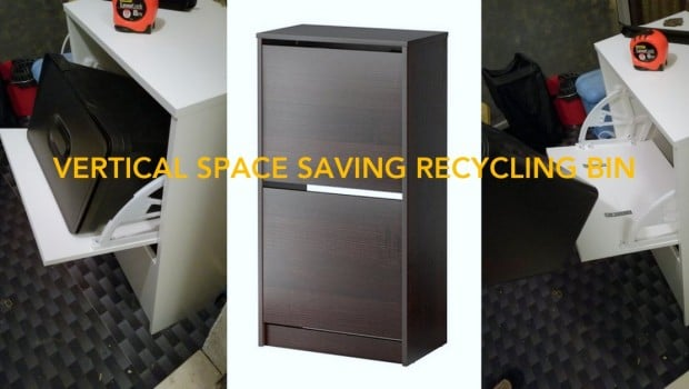 Vertical space saving recycling bin wide