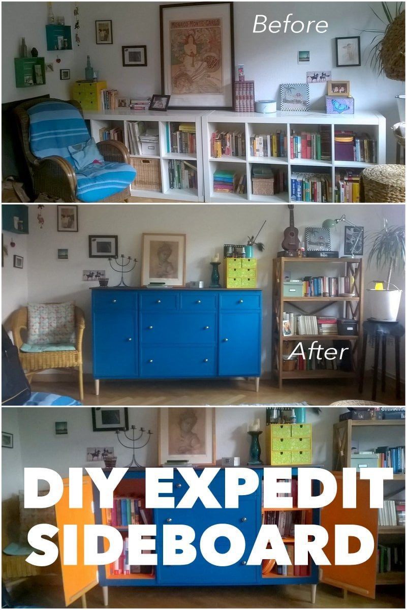Ikea Expedit Turns Into Beautiful Blue Sideboard Cabinet Ikea  # Notice Expedit