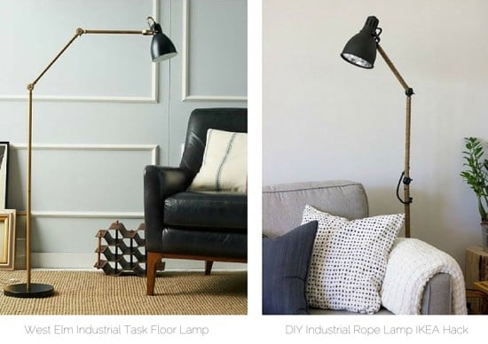 DIY West-Elm inspired industrial task floor lamp IKEA AROD hack
