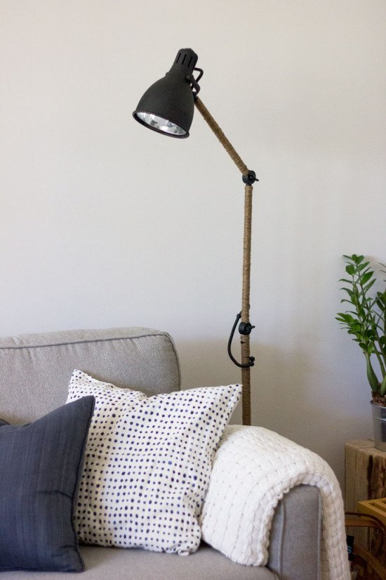 West-Elm Inspired Industrial task floor lamp IKEA hack