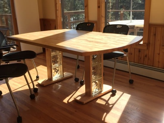Birch dining table from hammarp countertop ikea hackers - Transformer une table en bois ...