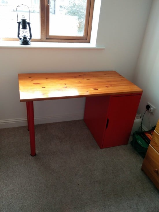 The Incredible Collapsing Office: Hinged, Space-saving Linnmon/Alex Desk - before