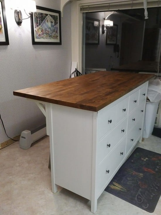 Kitchen island from IKEA HEMNES and KARLBY