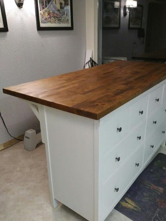 Kitchen island with seating. IKEA hack with HEMNES chest and KARLBY countertop