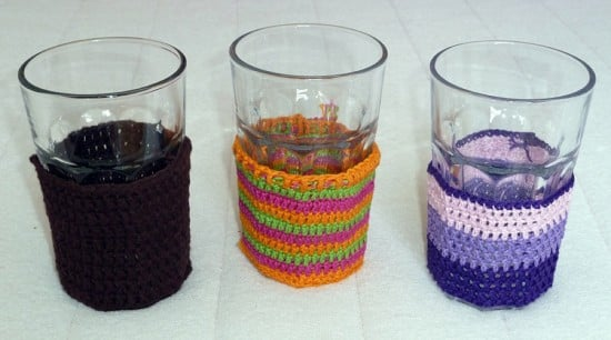 pokal crochet sleeve for glass