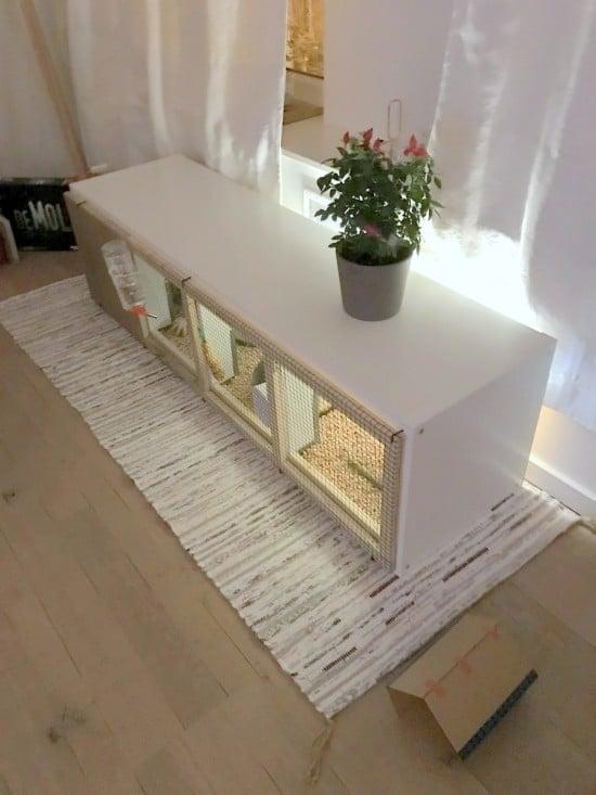 DIY rabbit house from IKEA KALLAX
