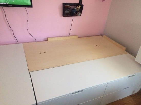 Plywood on bed frame