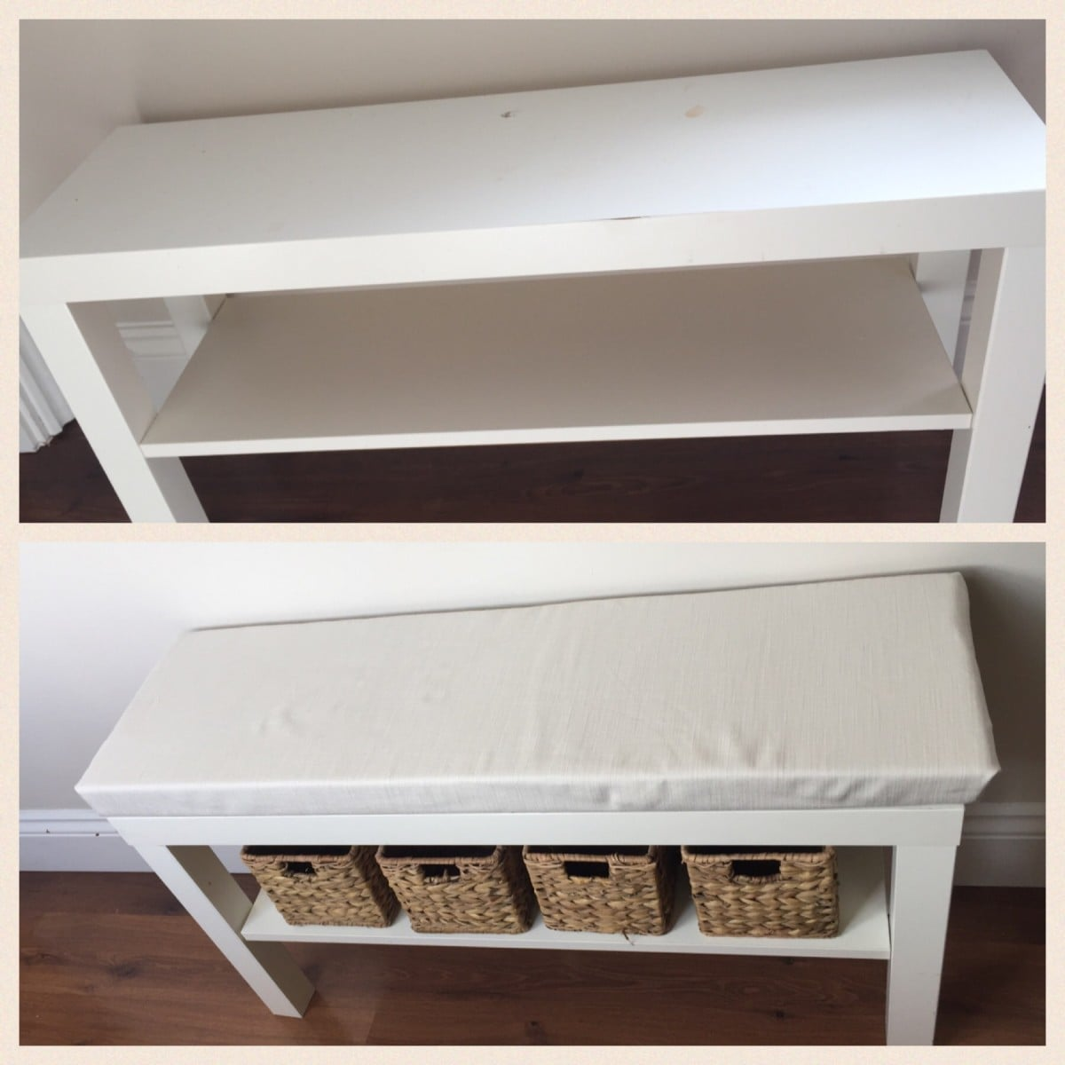 free shipping 18cf1 15c37 Turn a £7 LACK TV unit into a hallway bench - IKEA Hackers