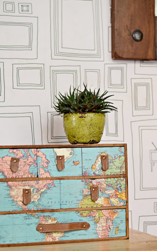 IKEA MOPPE chest of drawers with map decoupage and leather pulls