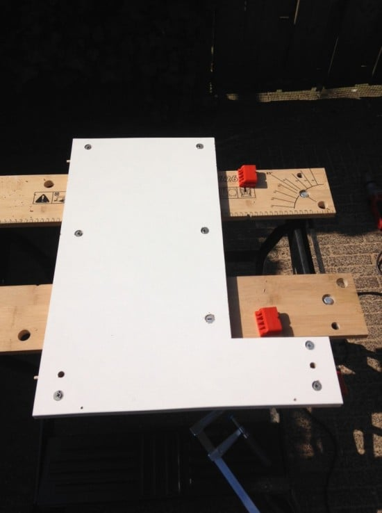Making the holes for nuts and bolts
