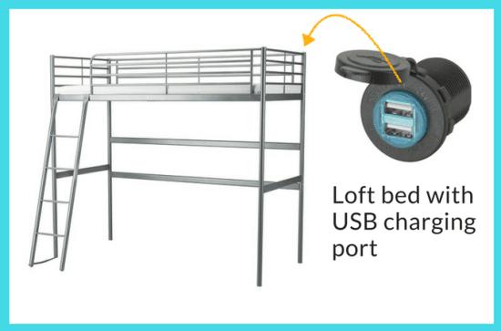 IKEA SVÄRTA Loft bed with USB charging port