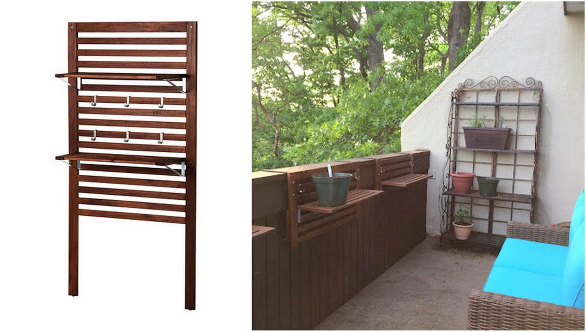 Adjustable over the railing outdoor planter shelves ikea for Ikea garden shelf