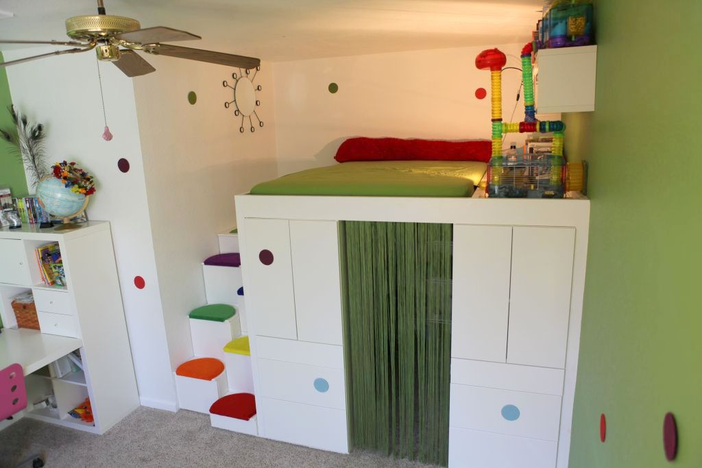 Advantages Of Ikea Full Size Loft Bed Hack a loft bed with den using IKEA AKURUM kitchen cabinets