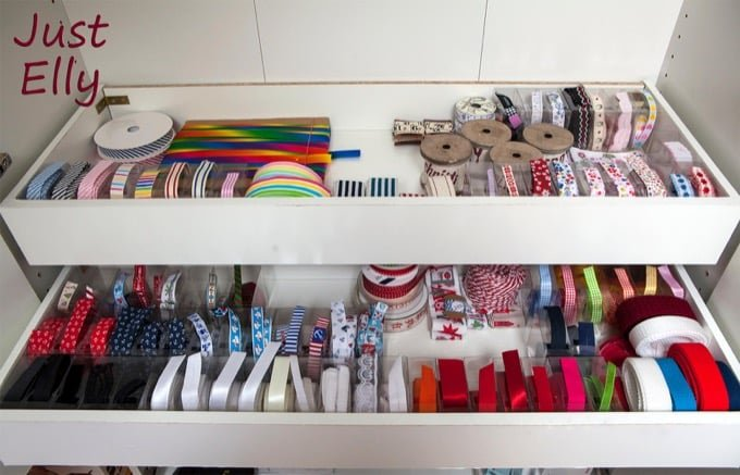 shortened PAX drawer for ribbons and sewing materials