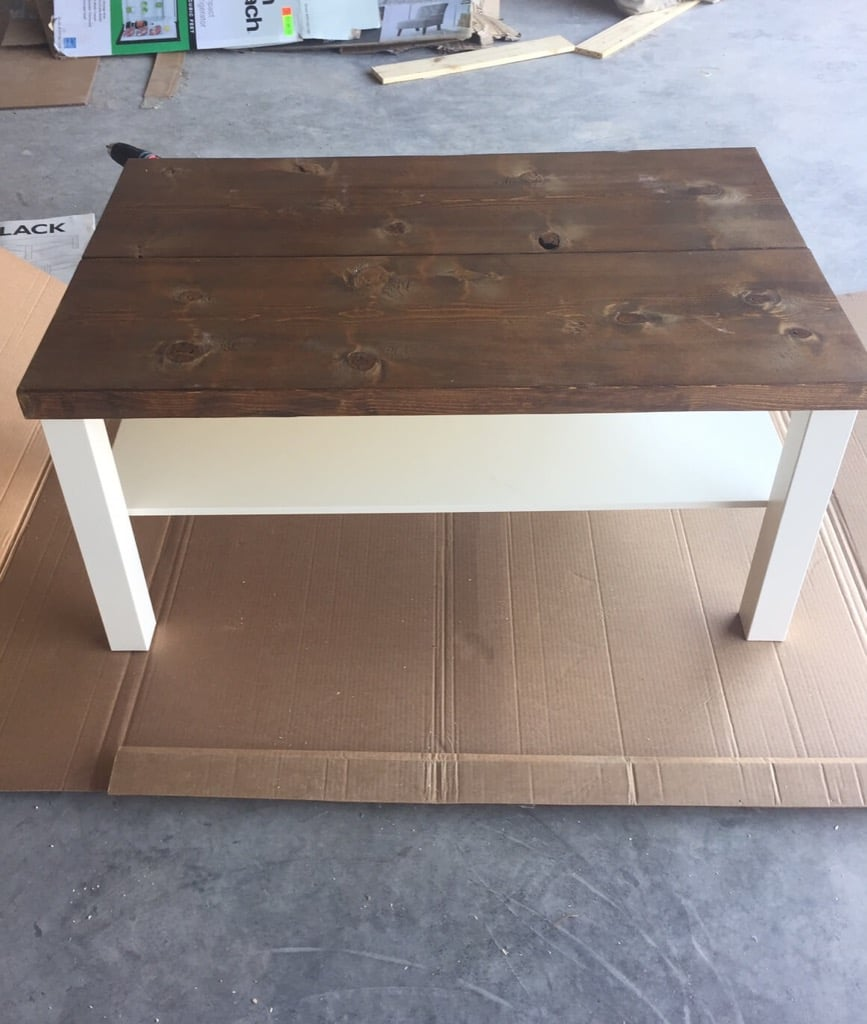 hackin 39 the lack into a rustic coffee table ikea hackers ikea hackers. Black Bedroom Furniture Sets. Home Design Ideas