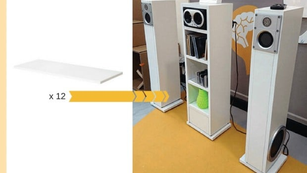 stereo system stand from 12 shelves ikea hackers ikea hackers. Black Bedroom Furniture Sets. Home Design Ideas